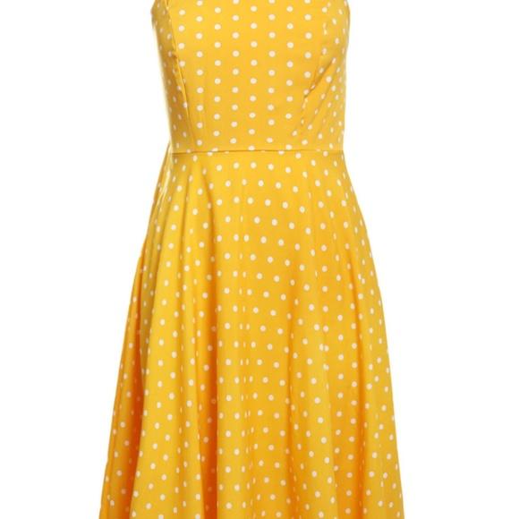 Yellow Polka Dot Retro Style Dress Boutique